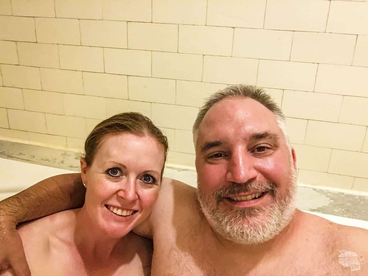 Enjoying at soak in the mineral waters at Hot Springs NP.