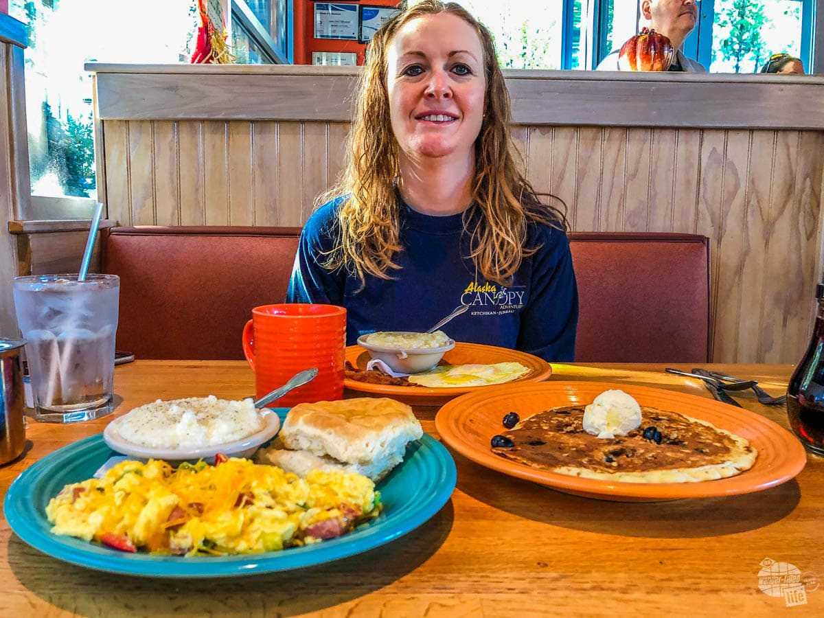 Bonnie about to dig in on a breakfast feast.