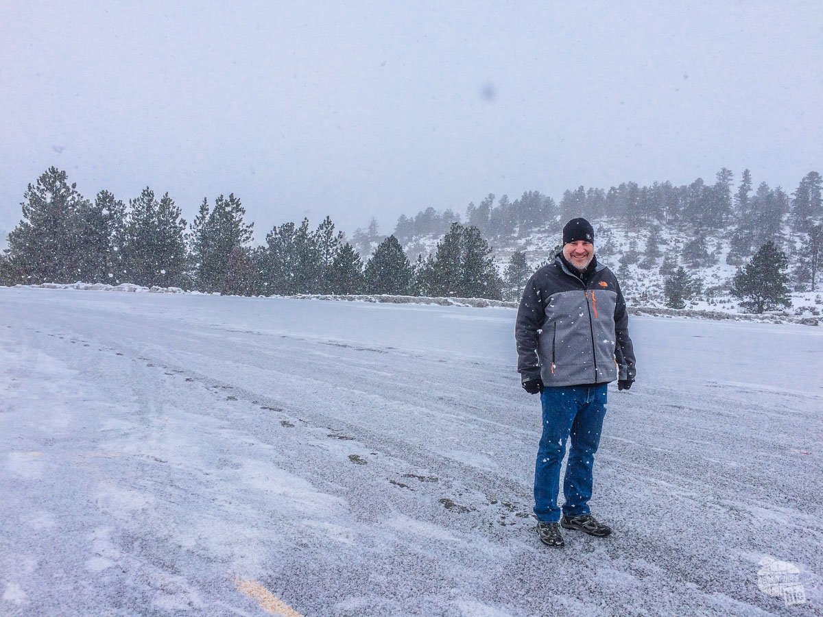 The snow was really coming down on our way to Bozeman, MT.