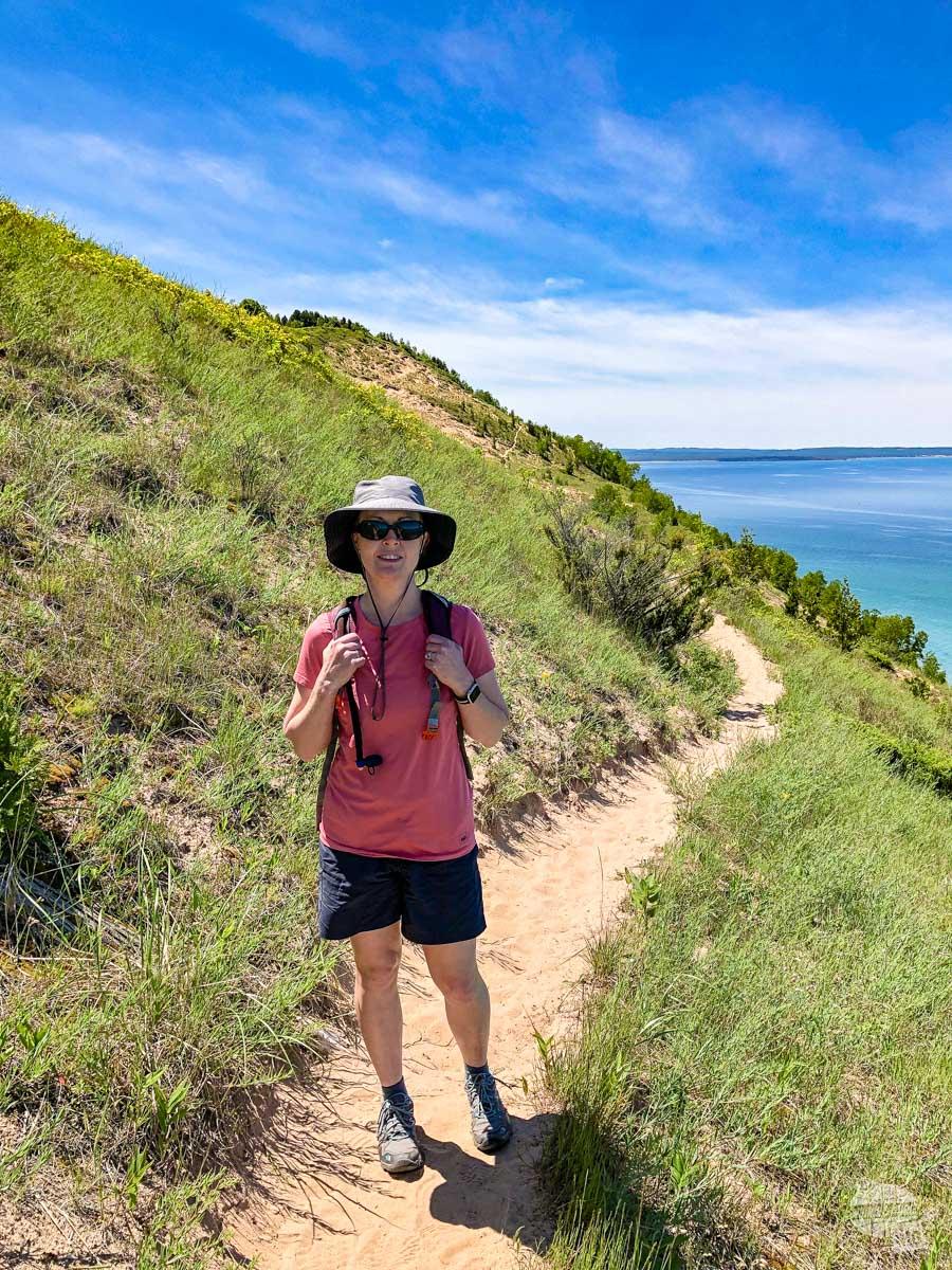Bonnie hiking at Empire Bluffs.