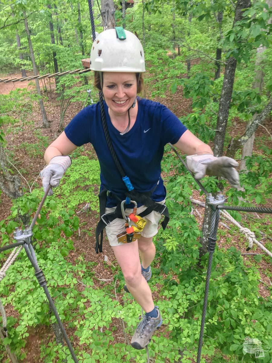 Bonnie finishing the three cable sky bridge.