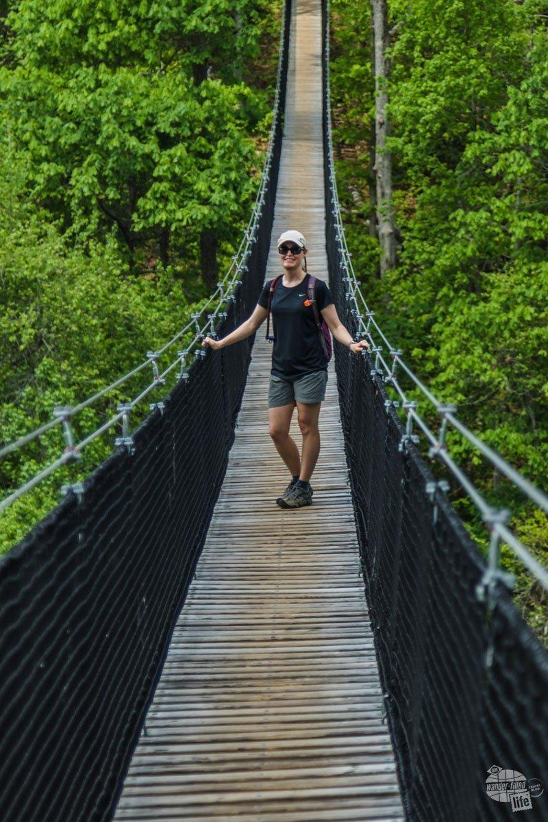 Bonnie hates bridges, so getting out on the suspension bridge was a challenge.