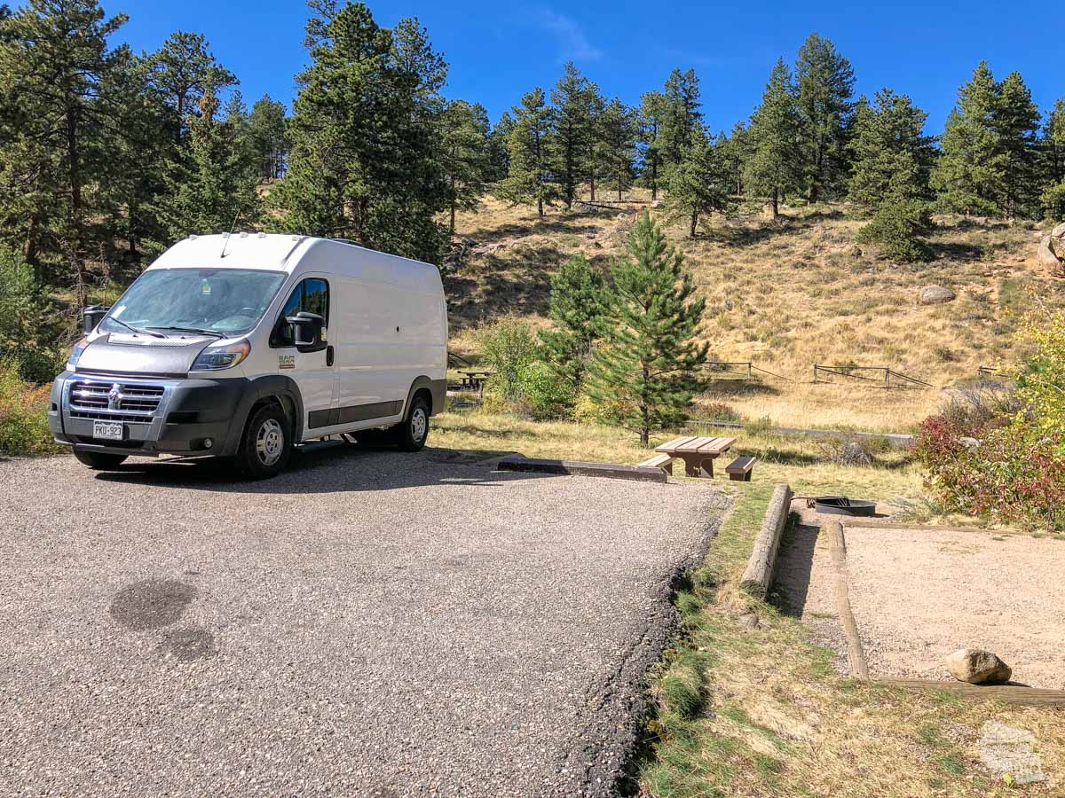 Our campsite at Aspenglen Campground in Rocky Mountain National Park.