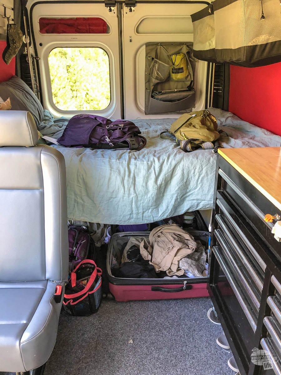 Our Outdoorsy RV Rental - we had plenty of storage below the bed.