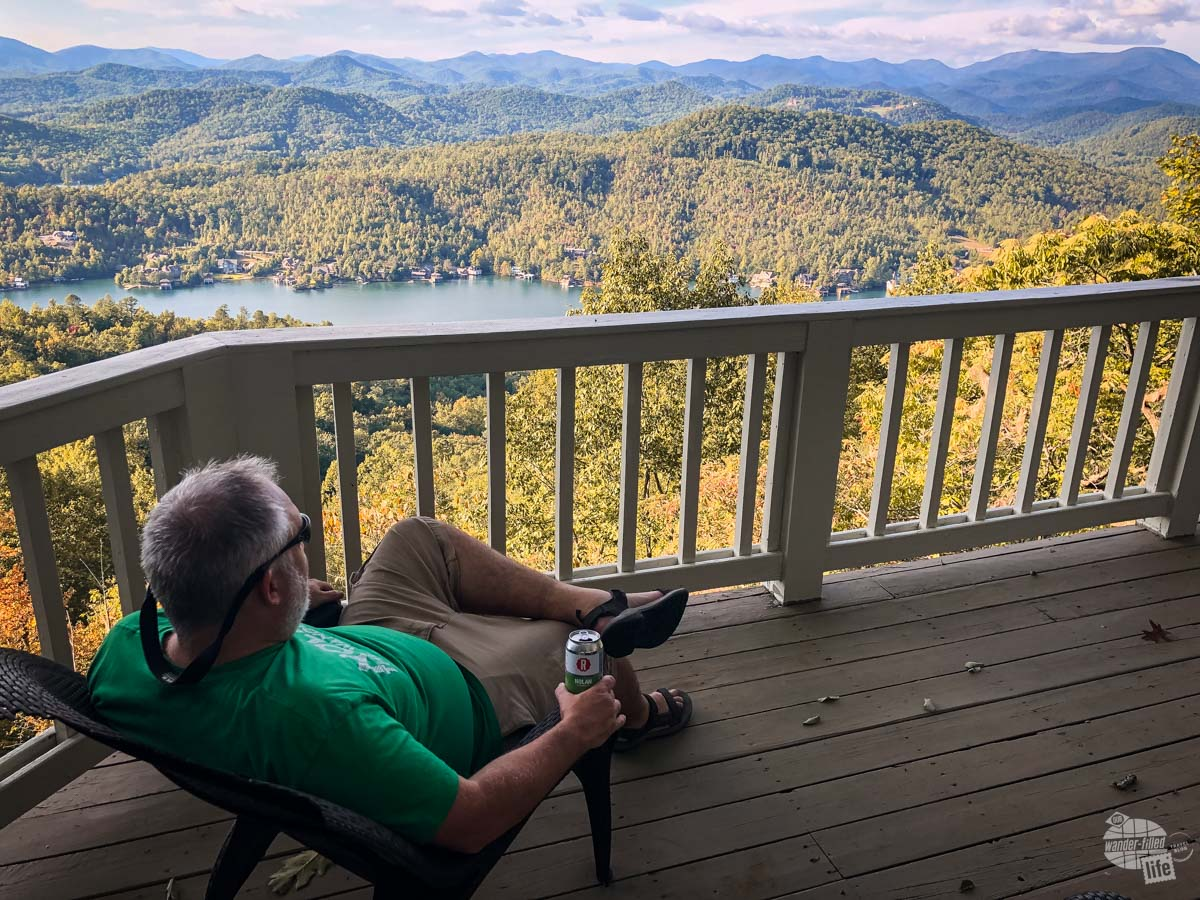 Grant admiring an amazing view in the North Georgia Mountains with a Nolan the Wanderer.