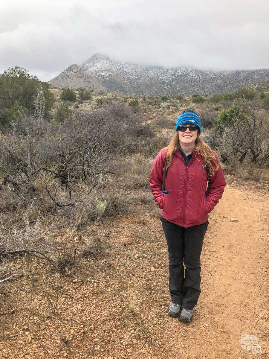 Bonnie on the trail out to Fort Bowie.