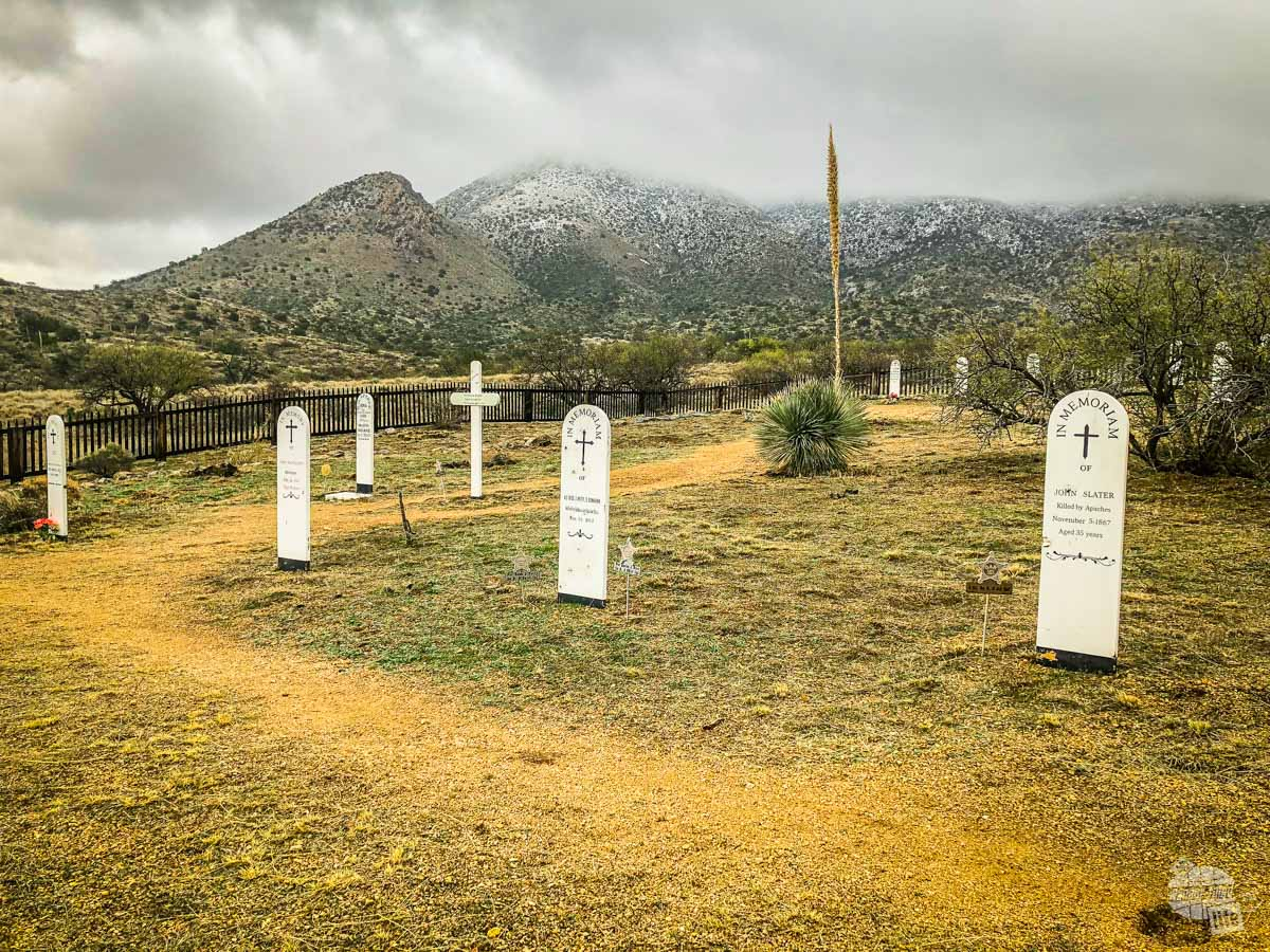 The Fort Bowie Post Cemetery. Several of the graves are for Civil War veterans who fell to the Apache.