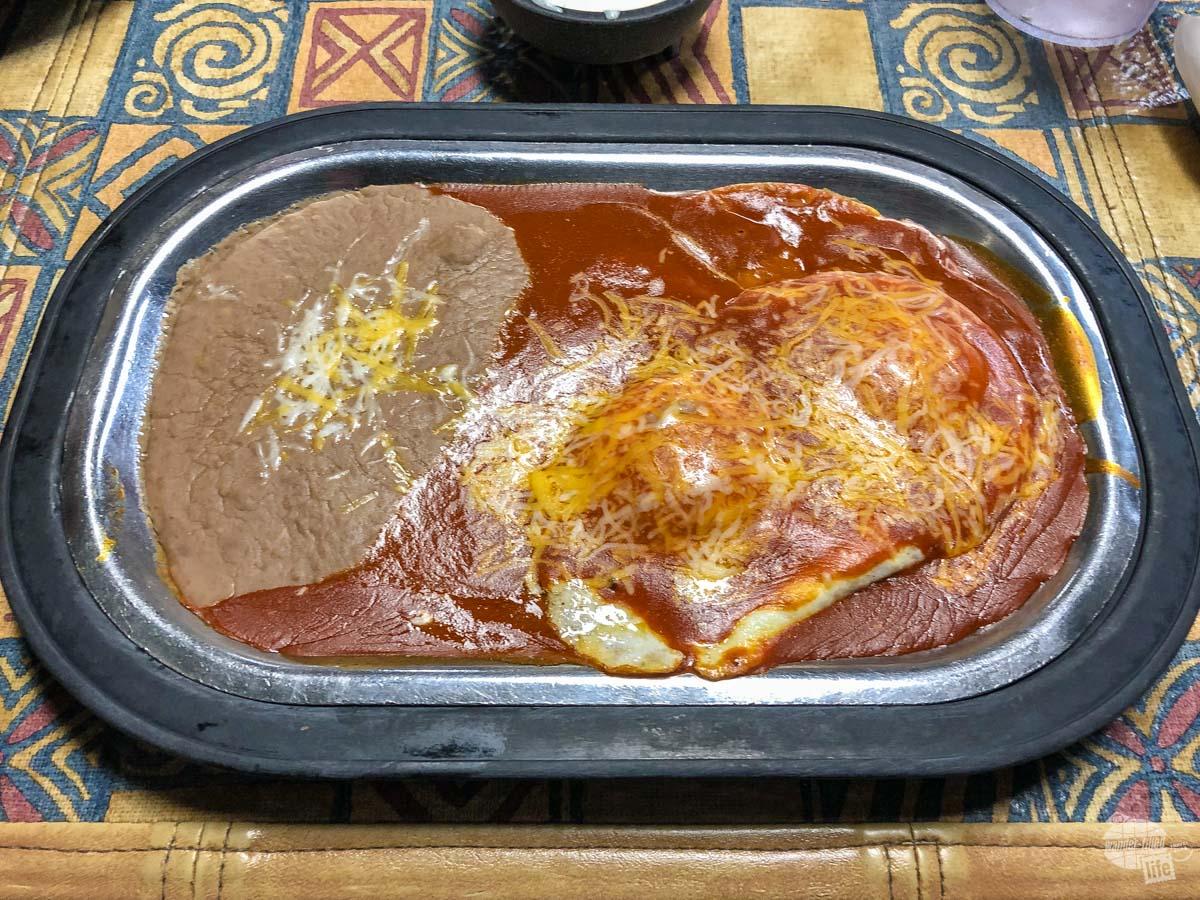 Huevos Rancheros with red sauce.