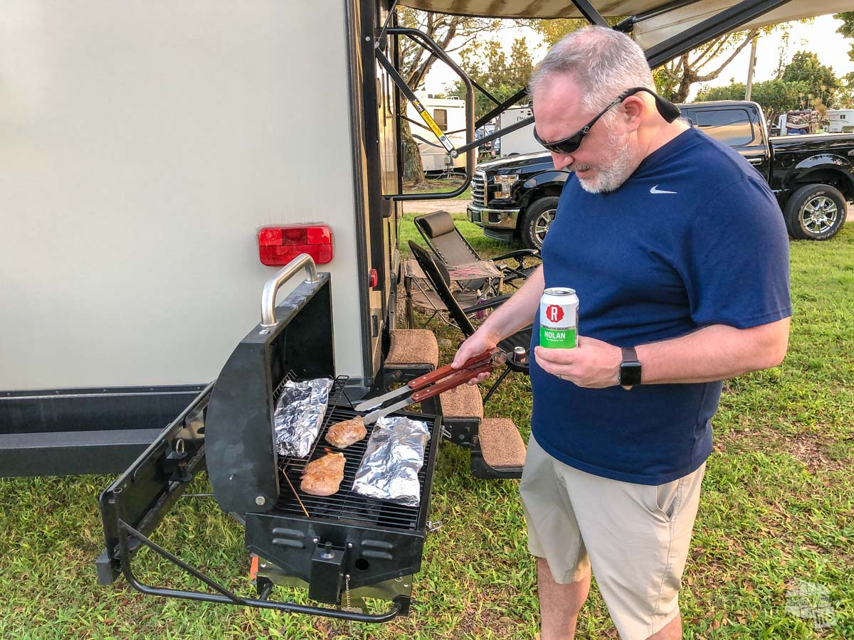 Grilling up some dinner during a visit to the South Florida national parks.