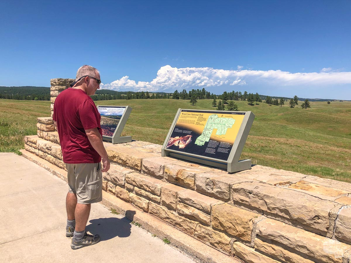 Grant checking out one of the interpretive signs in Wind Cave National Park.