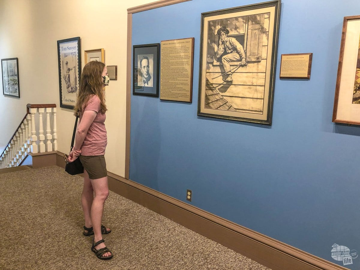 Bonnie checking out the Norman Rockwell Exhibit at the Museum Gallery.