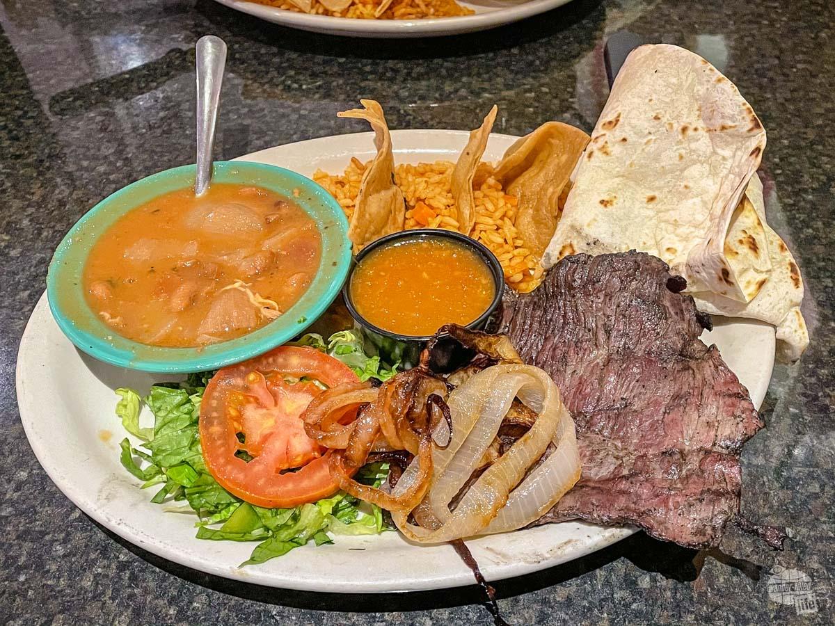 Fajita lunch at The Vermillion in Brownsville, TX.